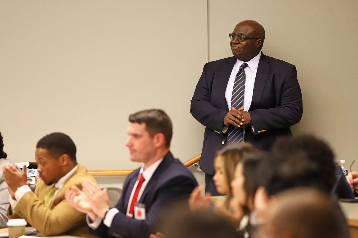 Ambassador Harry Thomas played the role of U.N. secretary general during the 2019 crisis simulation