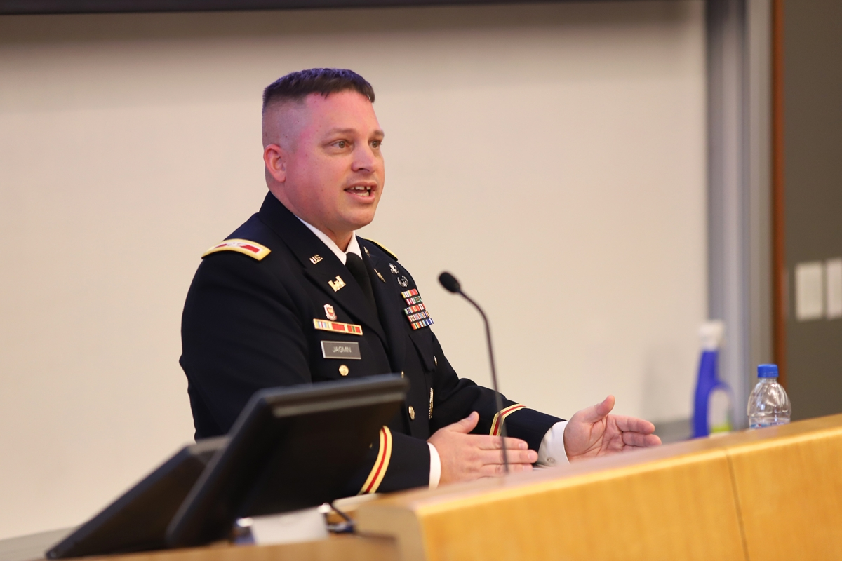 Colonel Chad Jagmin of the U.S. Army War College addresses SIA students during the 2019 international crisis simulation