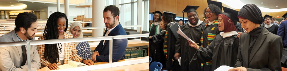 Students in library and students at graduation