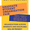 Promotional flyer for the Graduate Student Organization Fair
