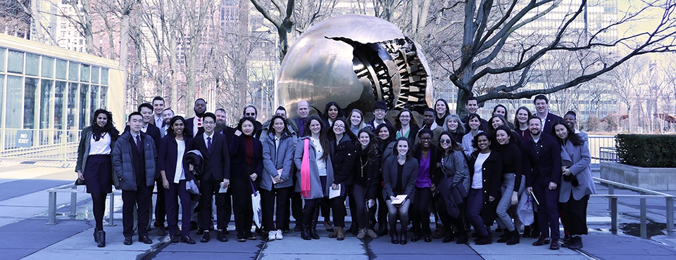 SIA students outside the UN building in New York City