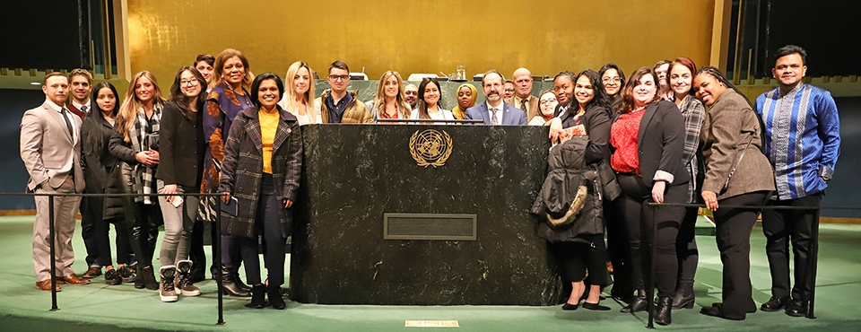 SIA student in the UN General Assembly hall