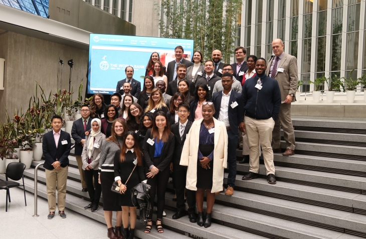 Group of students posing at World Bank in Washington, D.C.