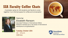 Flyer for the SIA Coffee Chat with Elizabeth Ransom