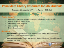 Penn State Library Resources for SIA Students