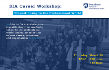 Transitioning to the Professional World workshop