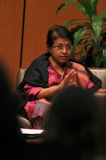 Chair of the Sri Lanka Human Rights Commission Dr. Deepika Udagama speaks at the Penn State School of International Affairs.